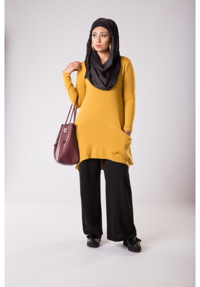 Pull laine femme moutarde