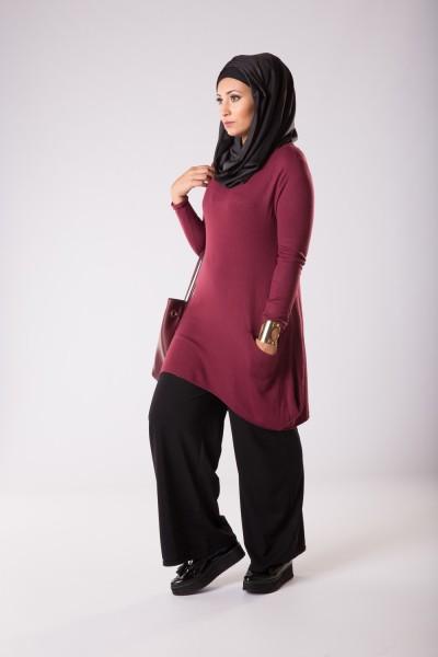 vêtements femme musulmane: Pull long Trapèze bordeaux