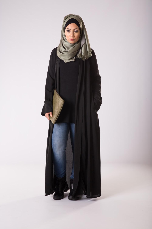 kimono veste noir pour femmes musulmanes. Black Bedroom Furniture Sets. Home Design Ideas