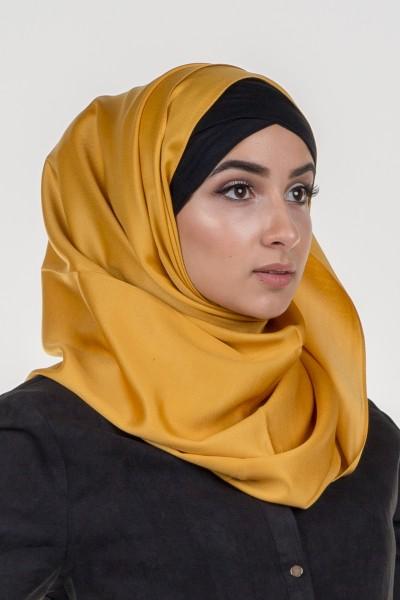 Foulard de soie moutarde pour femmes musulmanes moderne et élégant