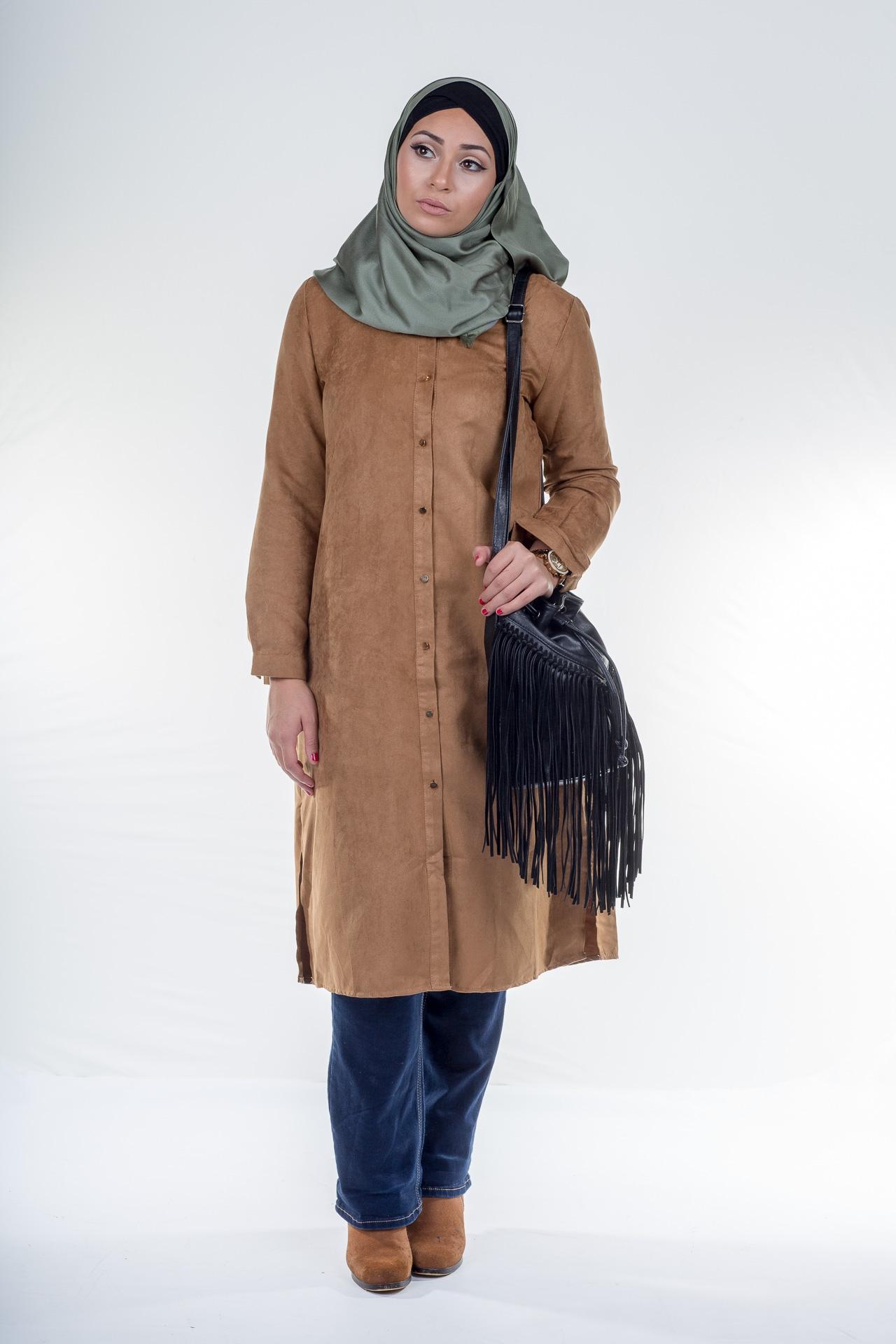 Tunique chemise en daim Camel