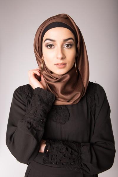hijab de soie chocolat femmes musulmanes mode islamique