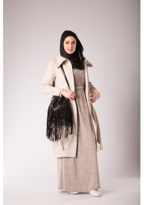 Manteau mi-long beige