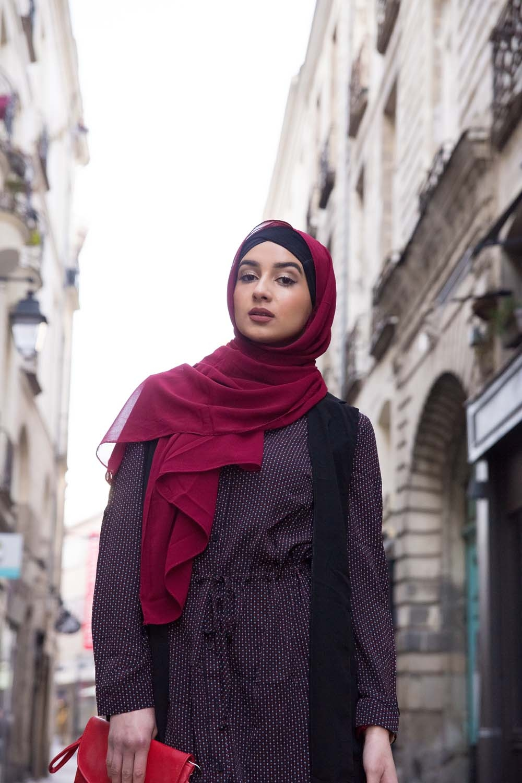 Hijab mousseline Grenat