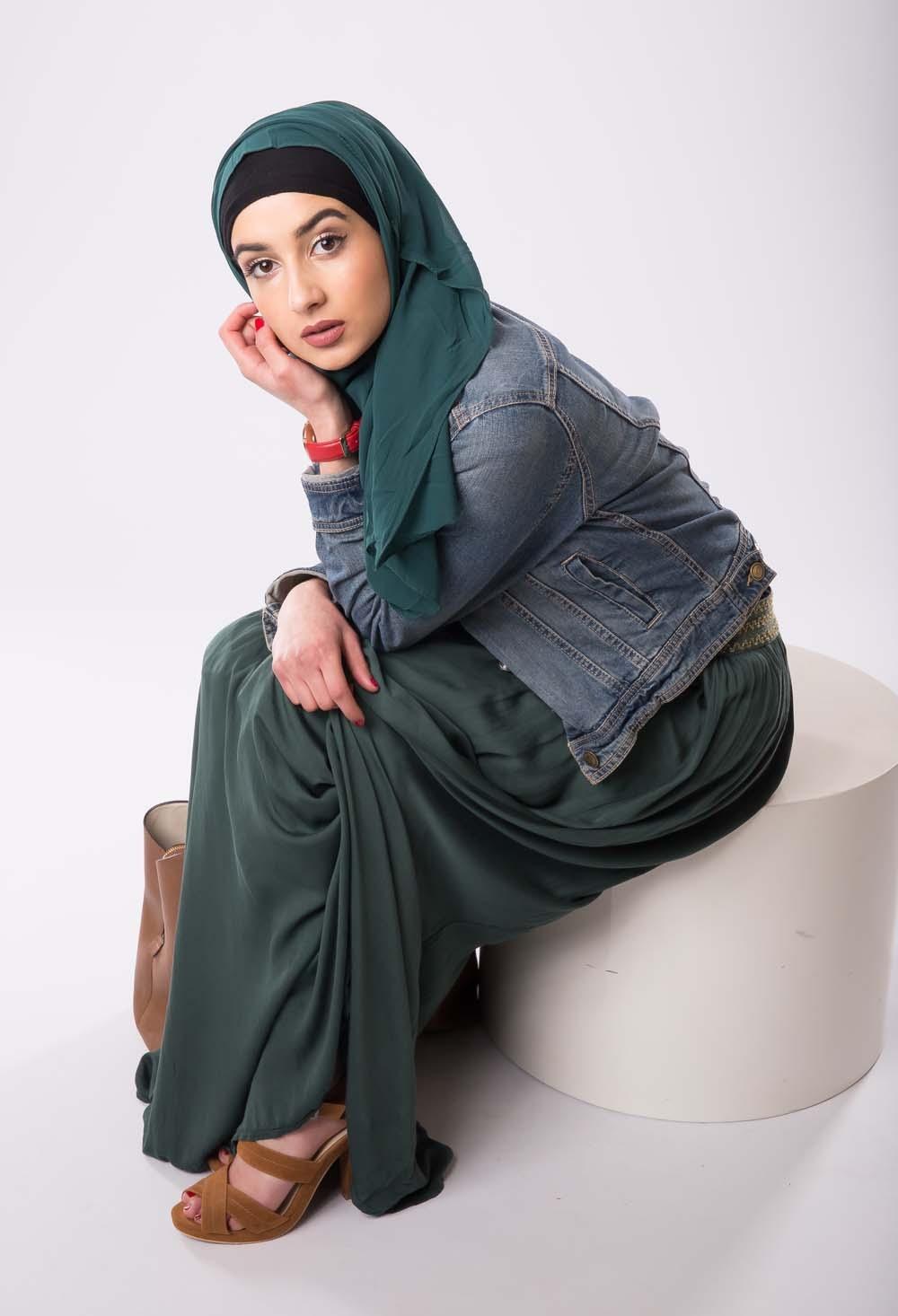 Hijab mousseline Vert