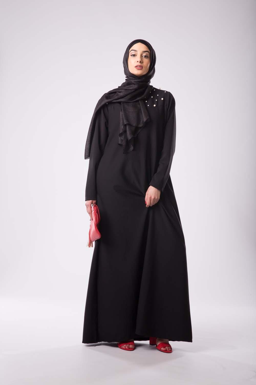 Abaya perlée noir