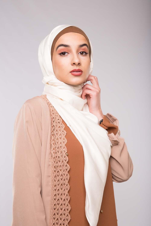 hijab de soie blanc