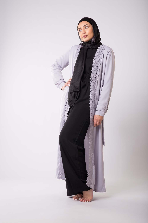 kimono bleu long d 39 t femmes musulmanes voil es. Black Bedroom Furniture Sets. Home Design Ideas