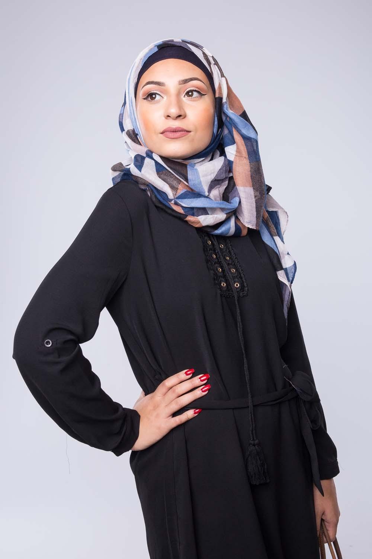 Hijab Arlequin bleu