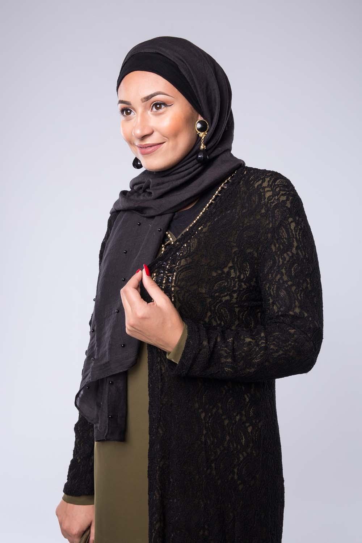 Hijab perlé noir