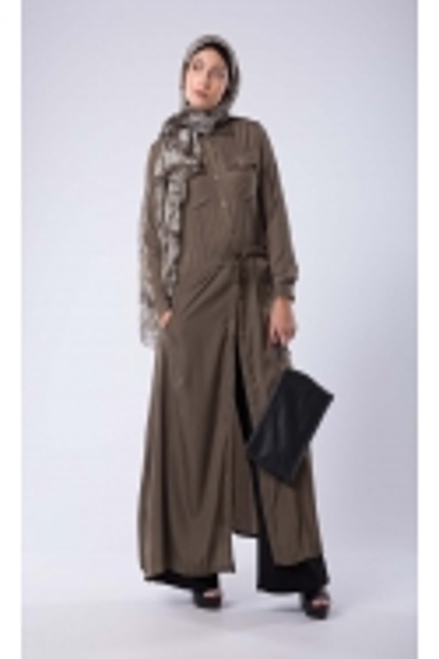 Robe chemise Kaki boutique hijab fashion pour femmes moderne musulmane voilée