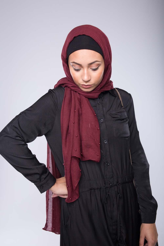 Hijab perlé prune