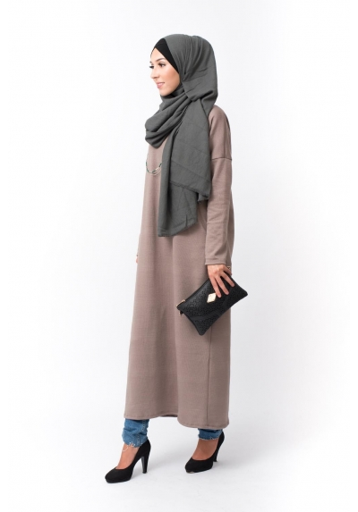 Robe Pull taupe pas cher femmes musulmanes boutique hijab moderne fashion mode pudique