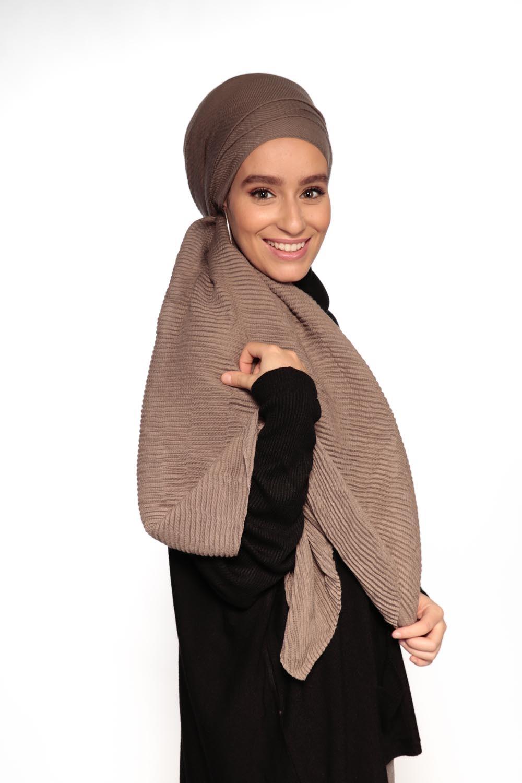 Hijab gauffré XXL taupe foncé