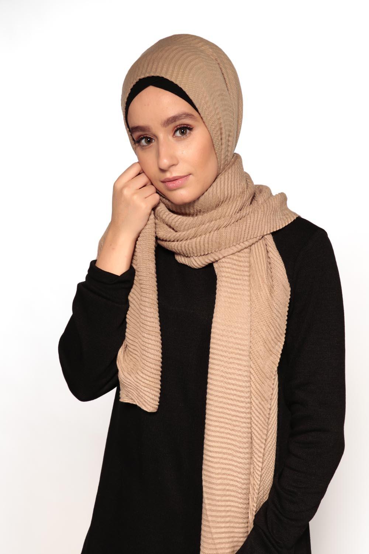 Hijab gauffré XXL beige foncé