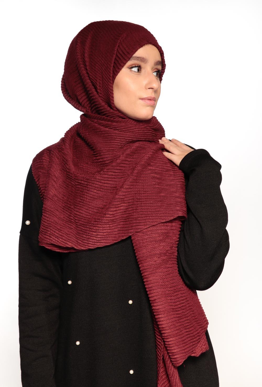 Hijab gauffré XXL bordeaux