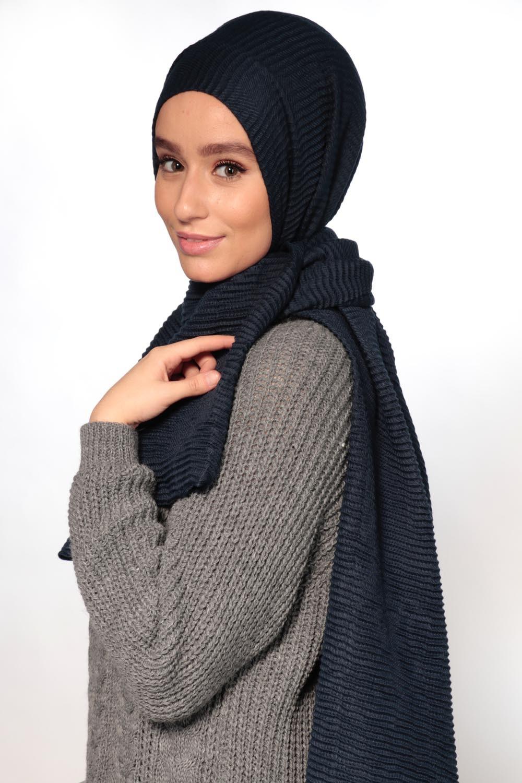 Hijab gauffré XXL bleu foncé