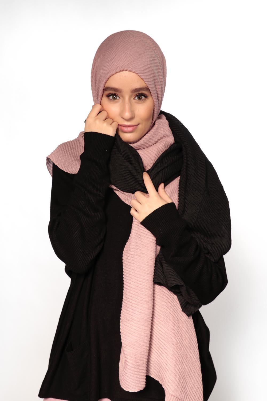 Hijab gauffré XXL mauve