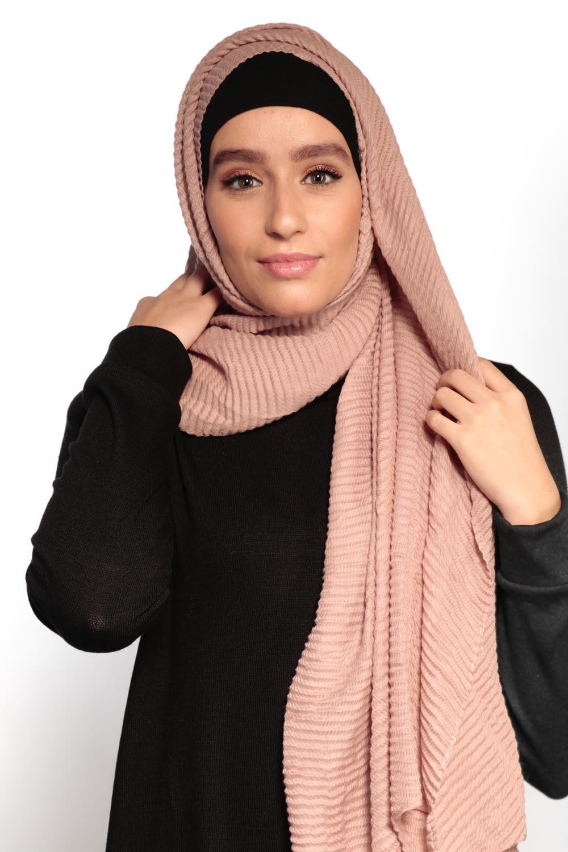 Hijab gauffré XXL vieux rose