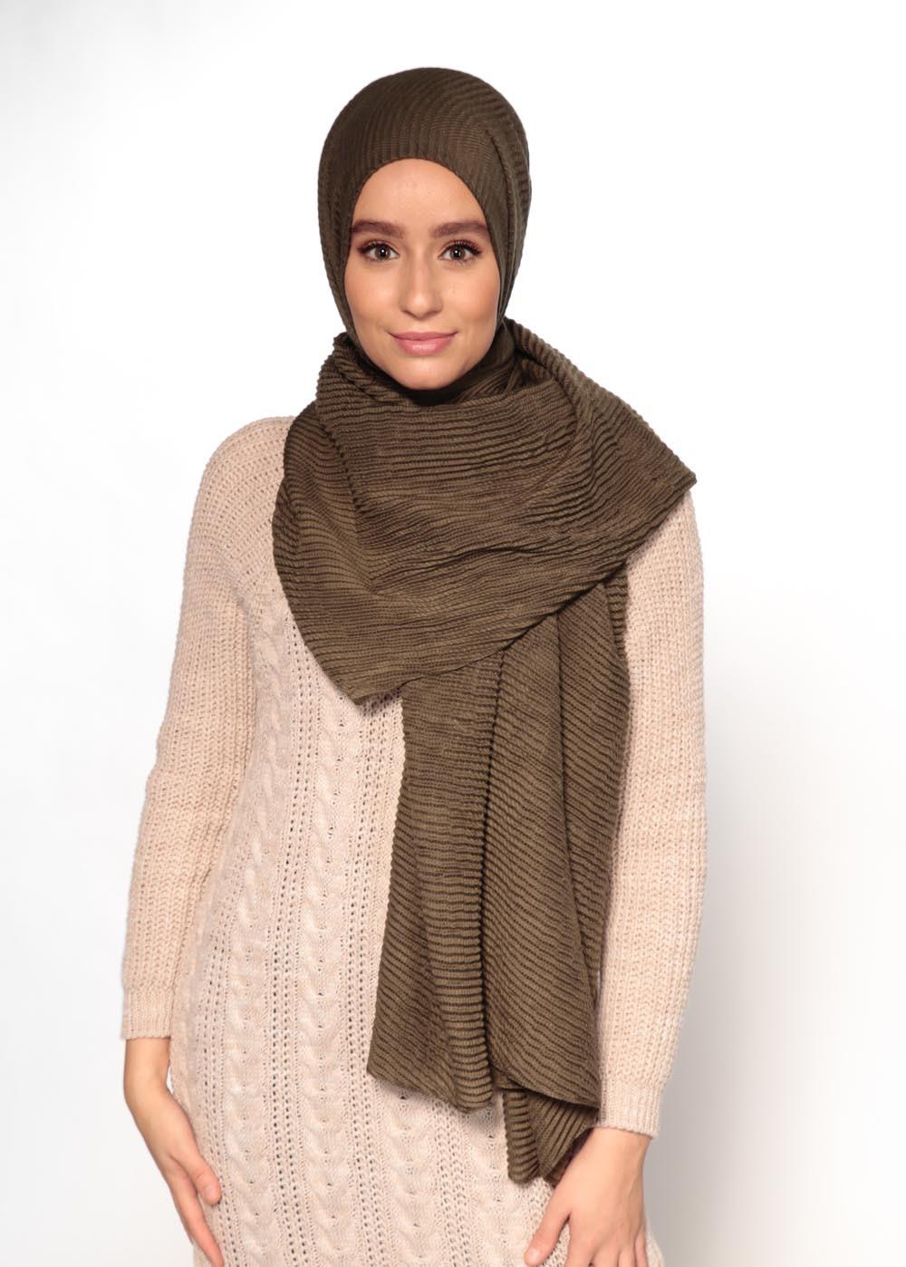 Hijab gauffré XXL kaki