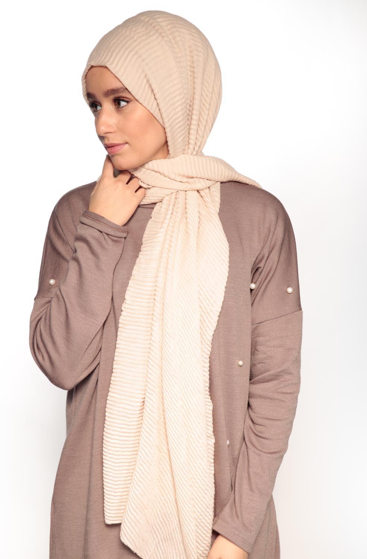 Hijab gauffré XXL beige