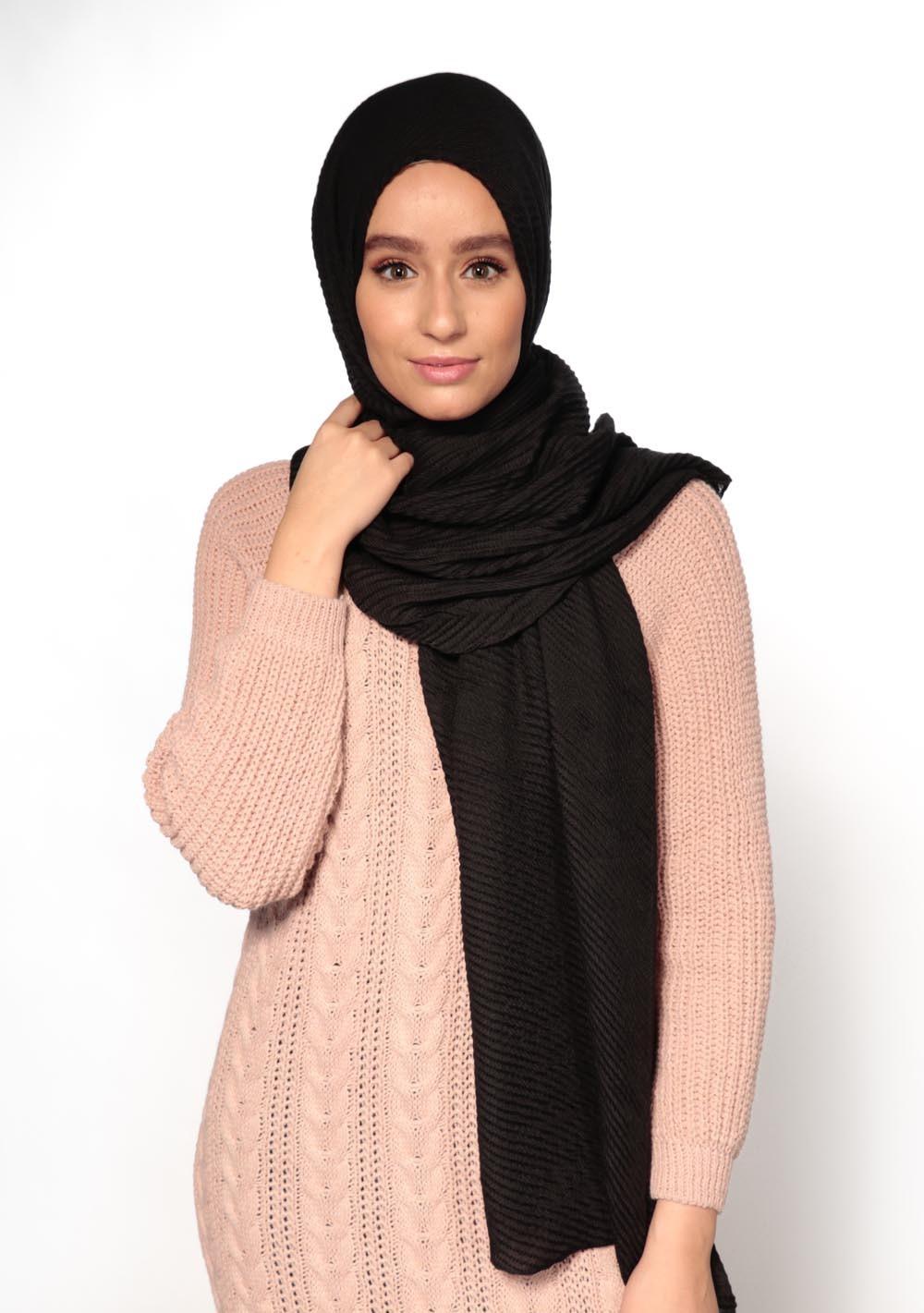 Hijab gauffré XXL noir