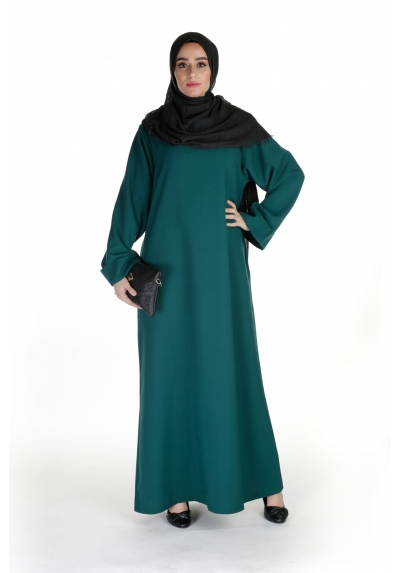 dc7295cabdd Abaya Casual vert bouteille boutique hijab fashion vetement femme musulmane