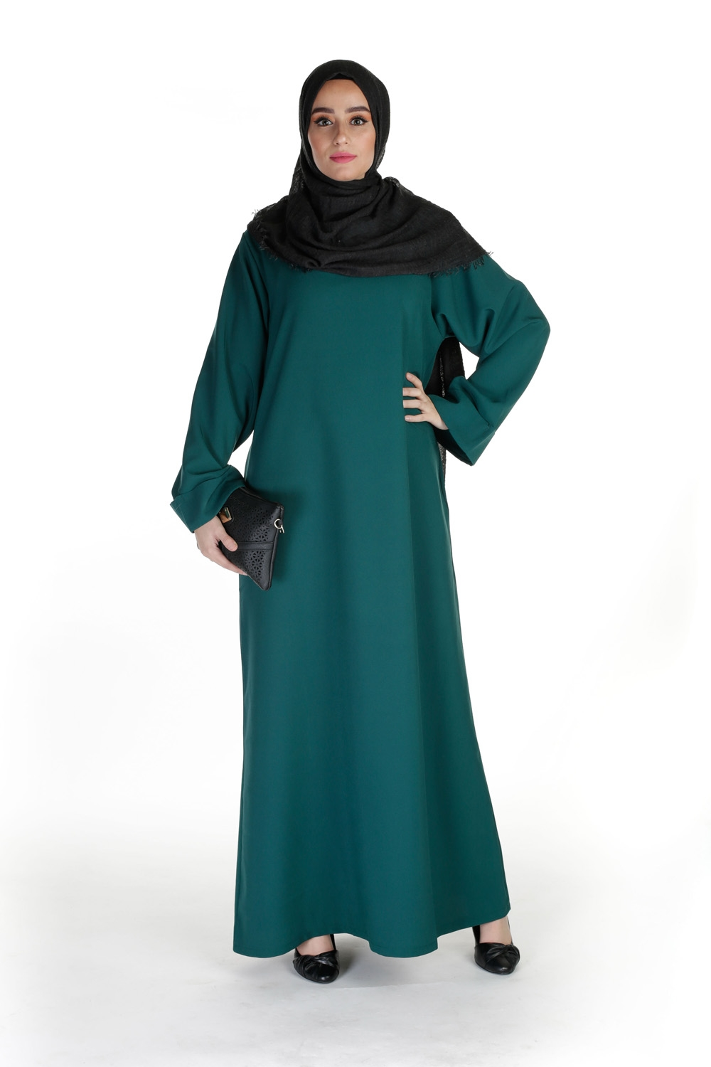 Abaya Casual Chic vert bouteille