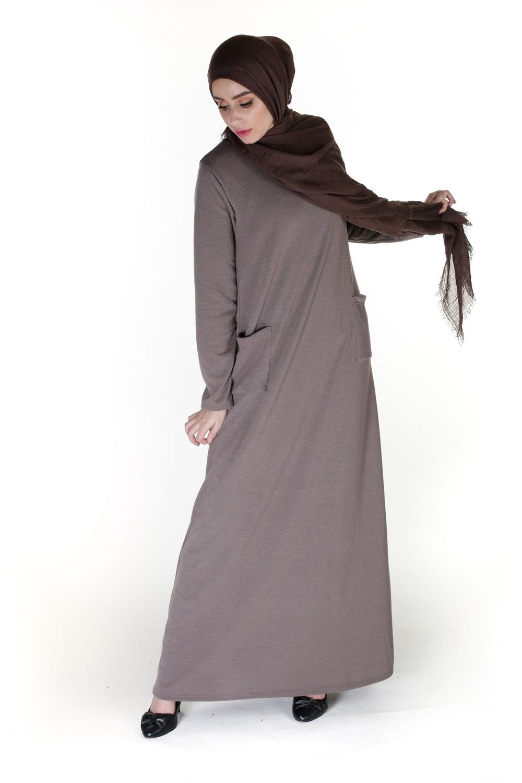 Robe évasée Modesty taupe