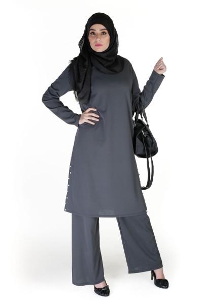 Tunique longue hijab perlé gris pas cher boutique vetement musulman