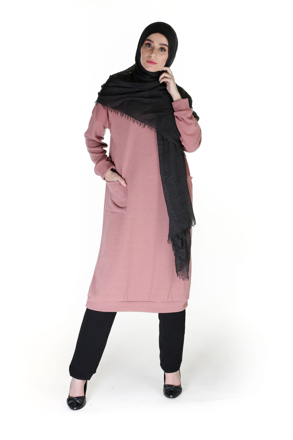 Pull long Modesty vieux rose