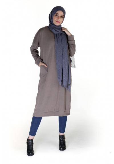 Pull hijab long taupe à poches pas cher pour femmes musulmanes