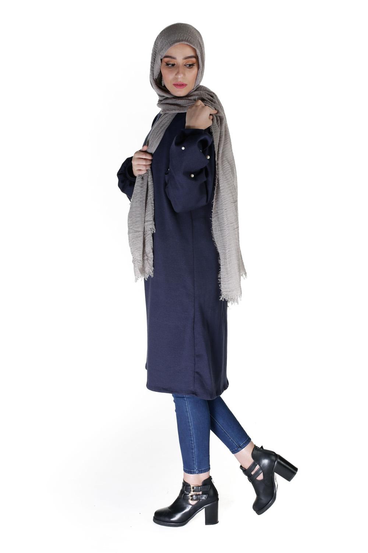 Hijab coton froissé taupe clair