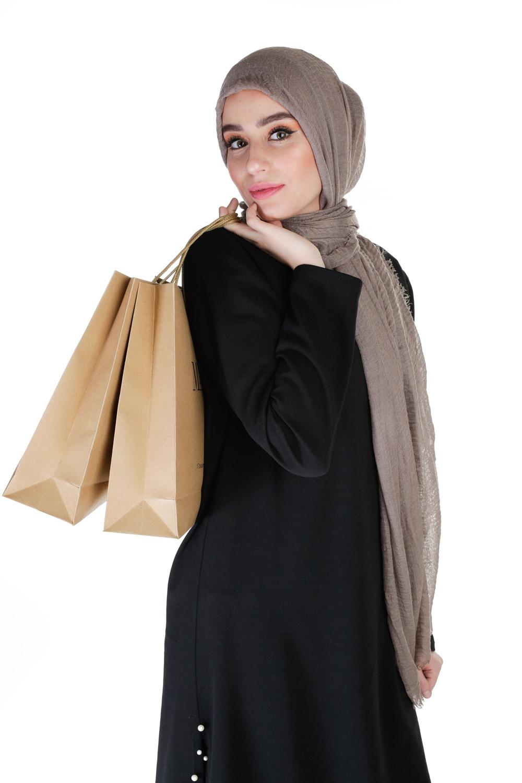 Hijab coton froissé taupe