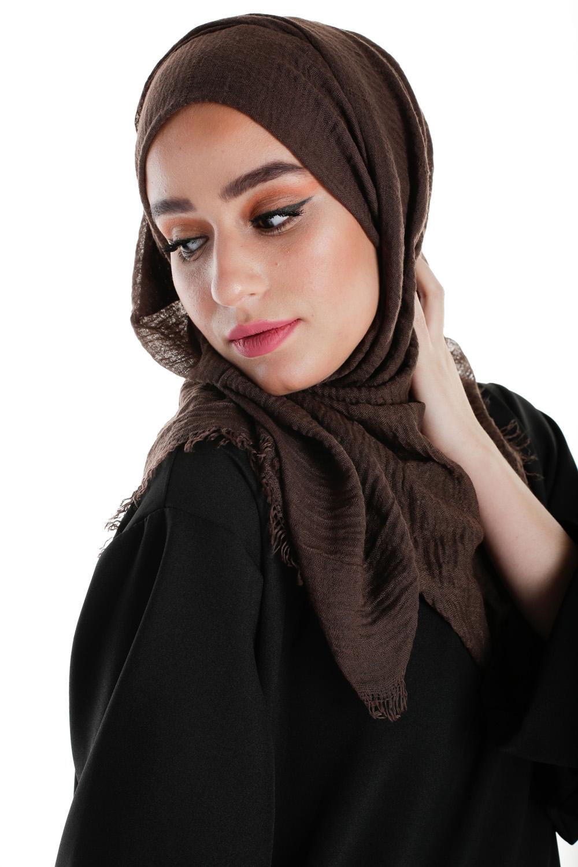 Hijab coton froissé chocolat