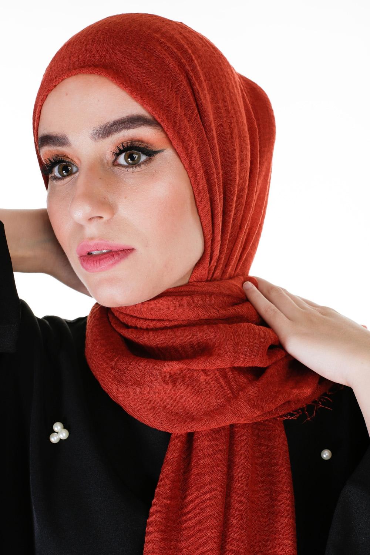 Hijab coton froissé terracota