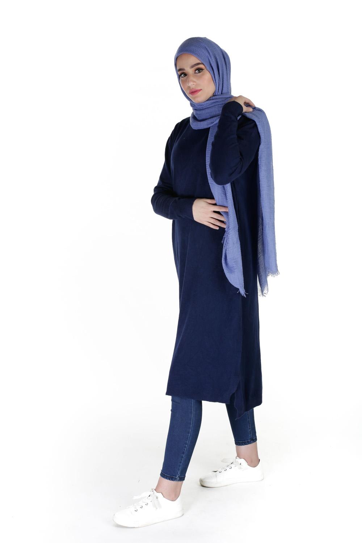 Hijab coton froissé bleu denim