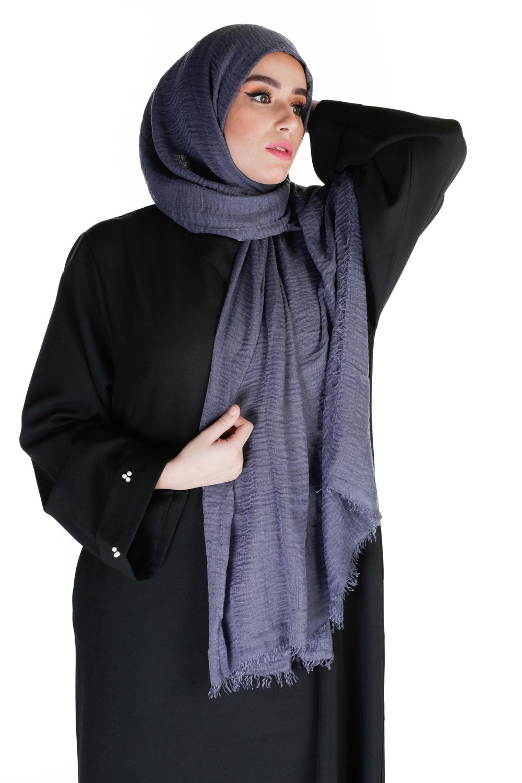 Hijab coton froissé bleu acier