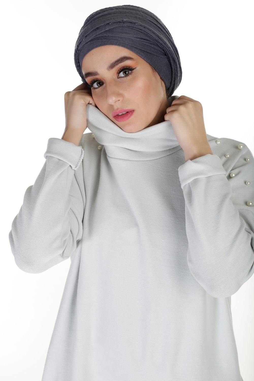 Robe Pull col roulé gris clair
