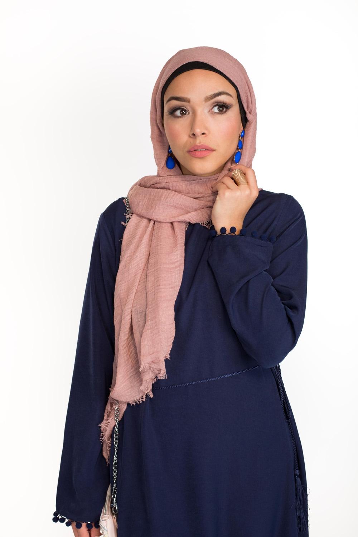 Hijab coton froissé vieux rose