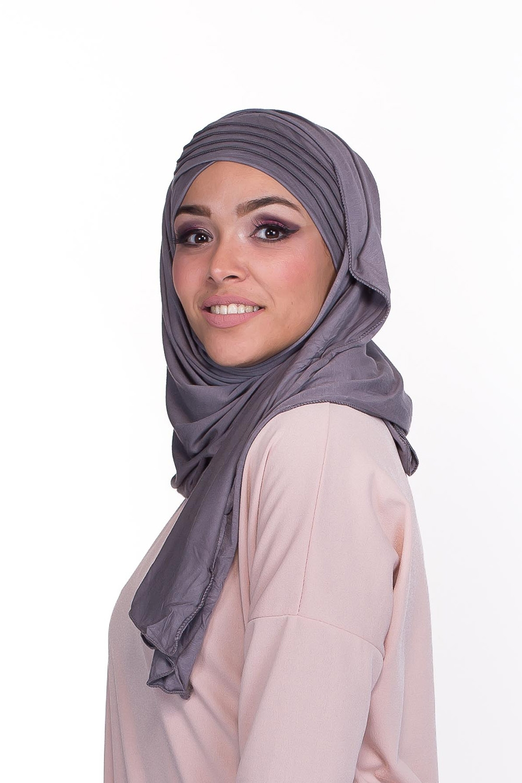 Hijab enfilable gris