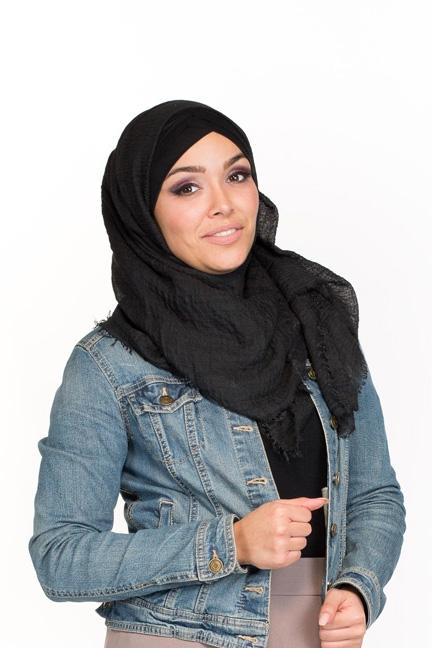 Hijab coton froissé noir