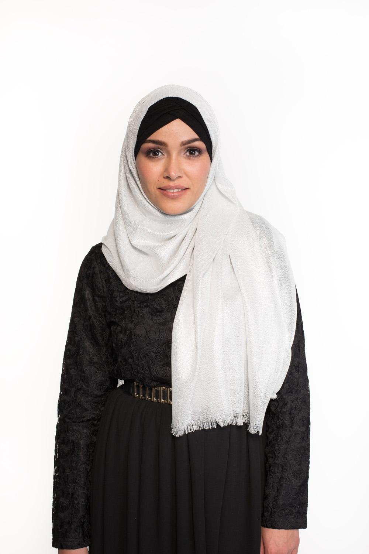 Maxi hijab fête blanc/argenté