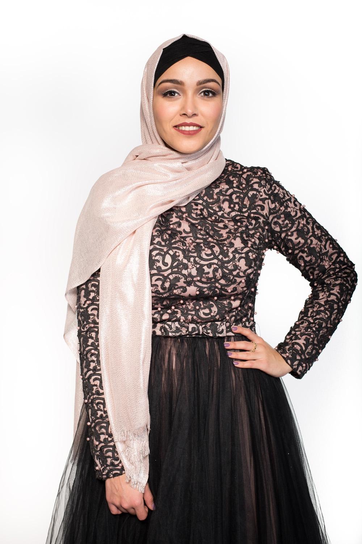 Maxi hijab fête rose/argenté