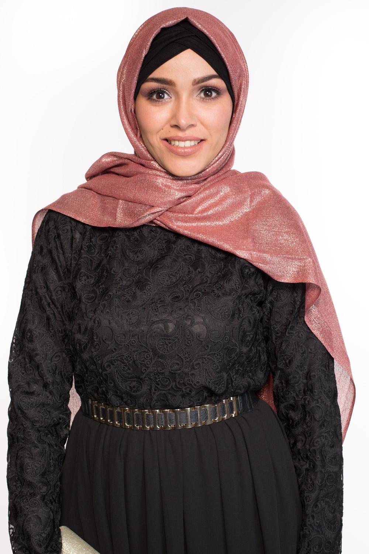 Maxi hijab fête grenat/doré