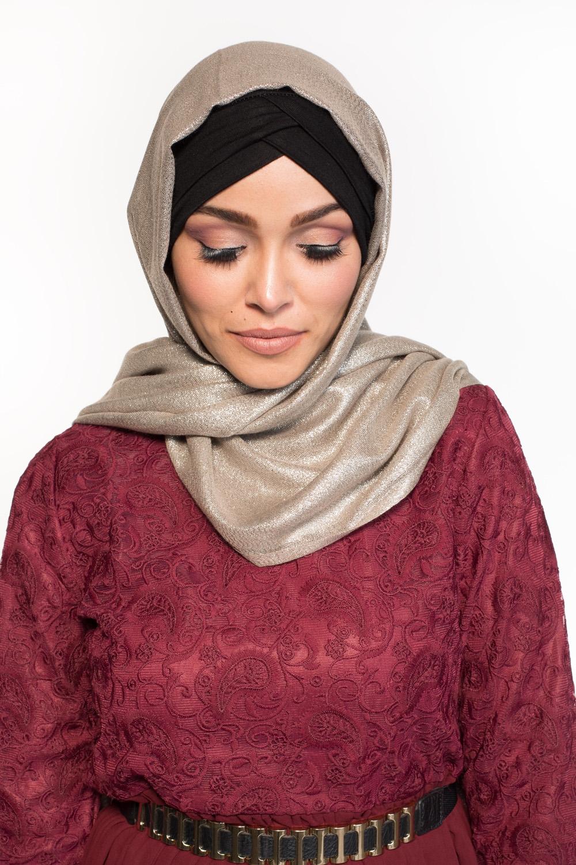 Maxi hijab fête taupe/argenté