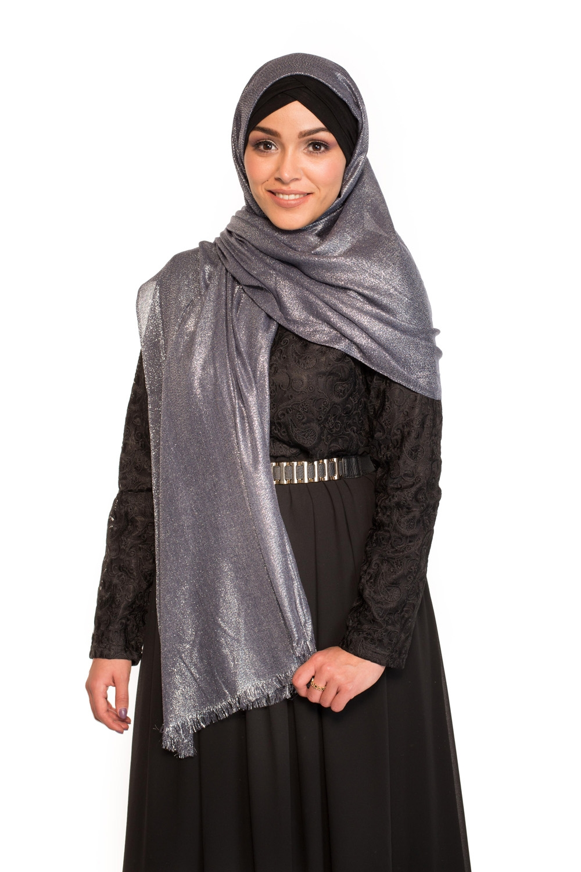 Maxi hijab fête bleu/argenté