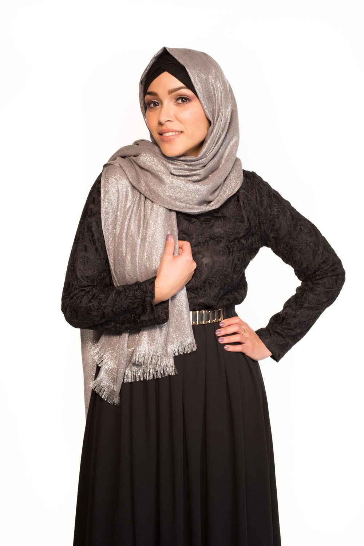 Maxi hijab fête argenté