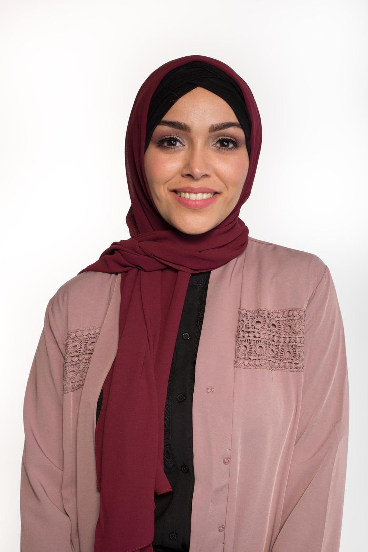 Hijab Mousseline prune