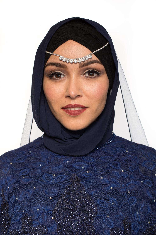Hijab Mousseline bleu